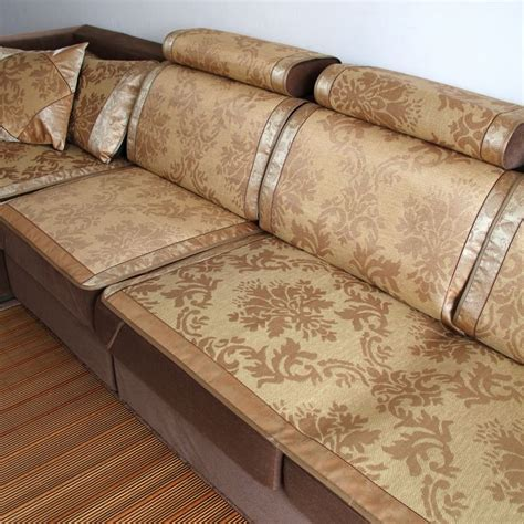 leather sofa with fabric seat cushions summer viscose rattan seats mat sofa cushion slip