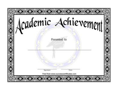 academic achievement certificate academic success award