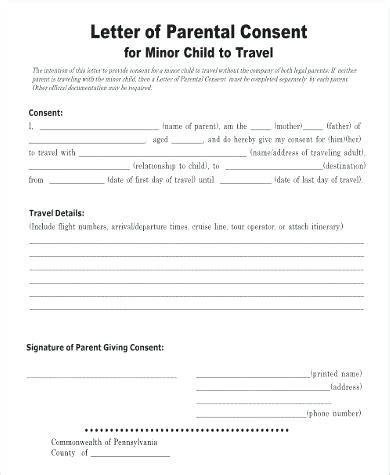 authorization letter for child to travel with one parent letter of consent notarized letter of consent word doc