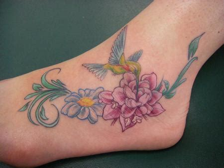 Flower And Hummingbird Tattoos Design On Foot Tattoomagz Hummingbird Tattoos On Ankle