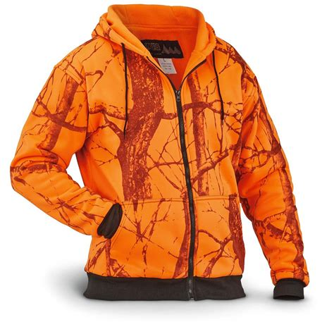 blaze orange camo hat wfs s thermal lined fleece blaze orange camo hooded