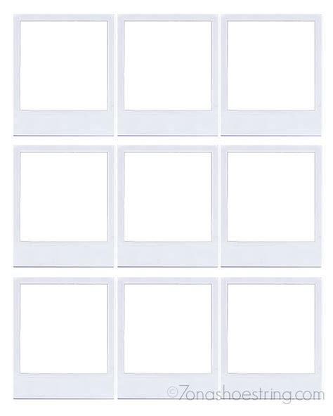 polaroid frame template transparent paper for crafts