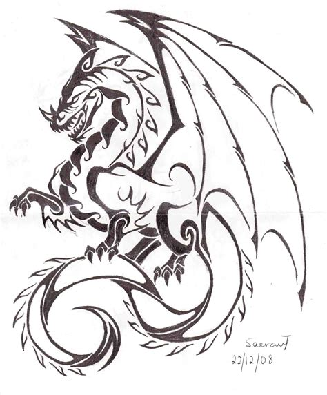 easy dragon tattoo designs easy step pencil and in color