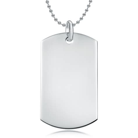 silver tags sterling silver single plain tag necklace can be personalised