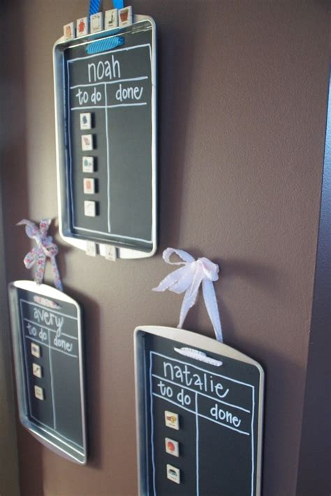 diy chalkboard chore chart chore chart diy with cookie sheets and chalkboard paint