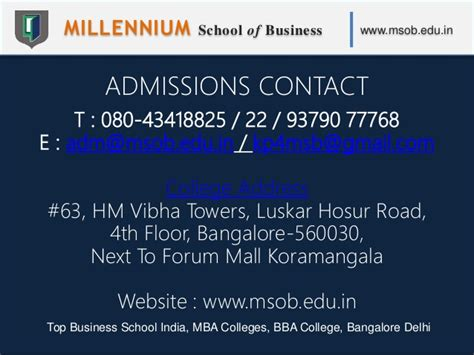 Best Executive Mba Programs In Bangalore by Millennium School Of Business Msob Top Business