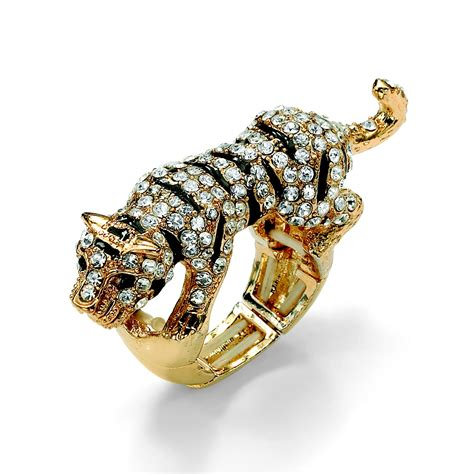 Palm Beach Jewelry 10 Gift Card - palmbeach jewelry black and white crystal tiger stretch ring in yellow gold tone