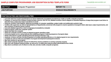 computer programmer job description sle job