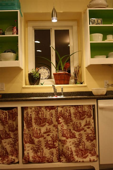 cabinet curtains instead doors kitchen addiction