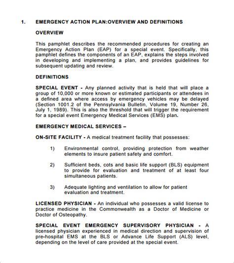 Emergency Action Plan Template 8 Free Sle Exle Format Download Free Premium Templates Event Safety Plan Template