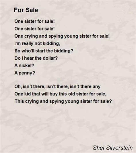 poems for from for sale poem by shel silverstein poem
