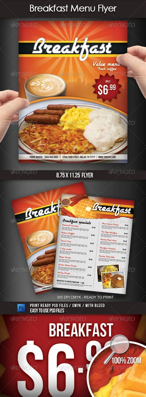 Breakfast Menu Flyer By Boca2600 Graphicriver Breakfast Flyer Template