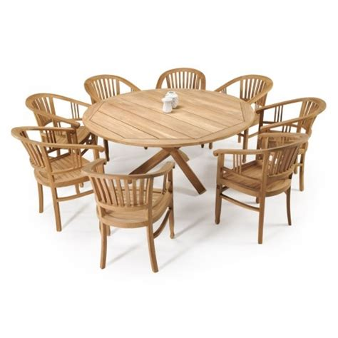 round dining table with armchairs teak villa 1700 round dining table 8 batavia armchairs the