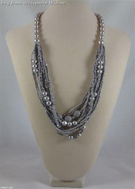 Fashion Necklace 1 Silver Wood Bead Multi Strand Fashion Necklace Necklaces