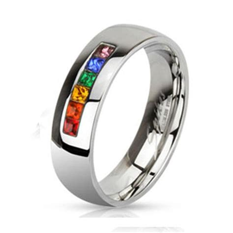 6mm stainless steel pride rainbow wedding band
