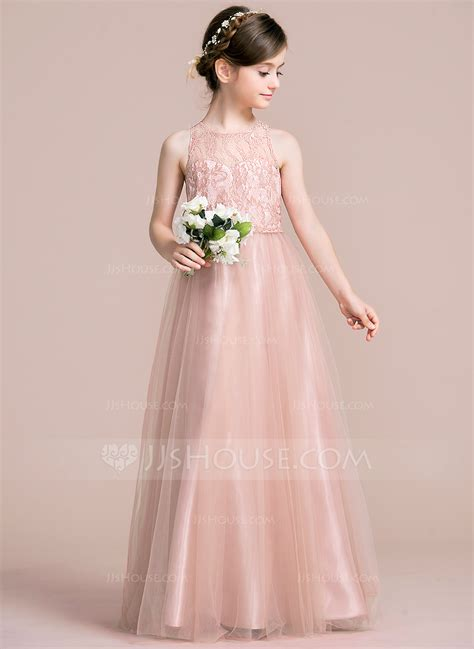 Junior Bridesmaid Dress by A Line Princess Scoop Neck Floor Length Tulle Junior