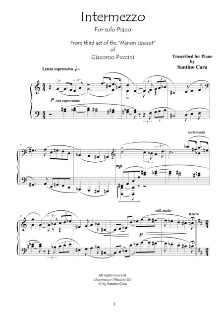 manon lescaut sheet music by giacomo puccini sheet music plus download puccini manon lescaut act3 intermezzo solo piano sheet music by puccini giacomo