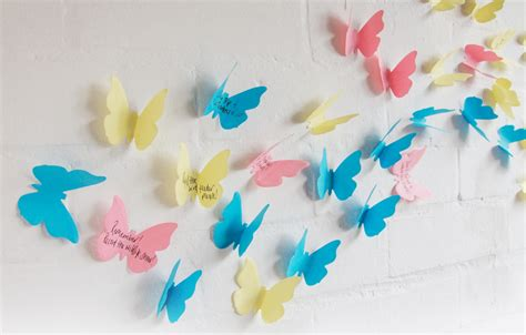 How To Make A 3d Paper Butterfly - 3d sticky notes paper butterfly wall decorations notes