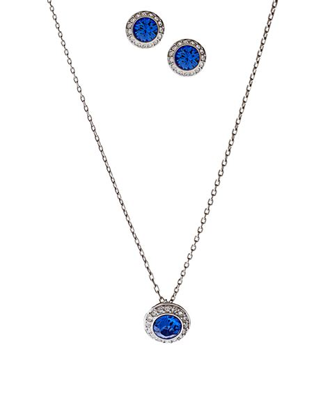 swarovski sapphire angelic necklace and stud earring set