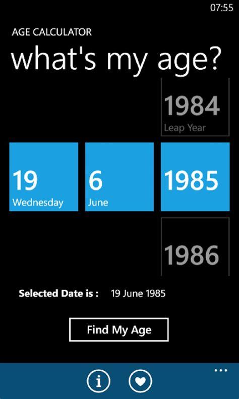 calculator age age calculator for windows 10 mobile