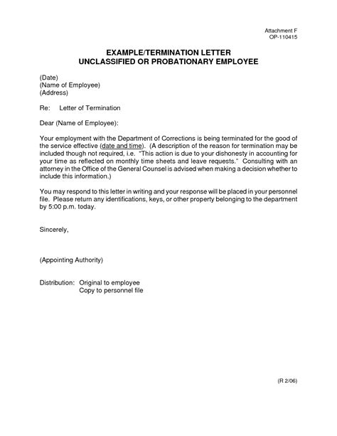Employee Termination Letter Format Pdf best photos of employee probation letter sle employee