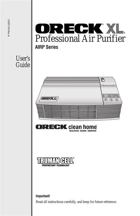oreck xl рrofessional air purifier airp series user manual 36 pages