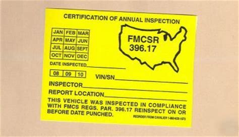 Federal Dot Inspection Stickers dot federal annual vehicle inspection stickers fmcsr