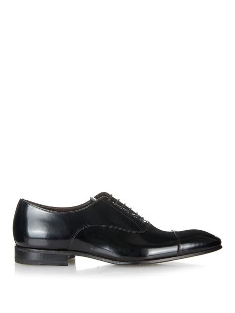henderson lace up high shine leather oxford shoes in black