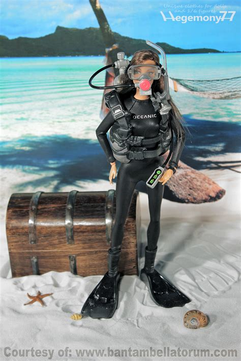 dive clothing fashion doll in custom scuba diving suit on the