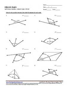 eighth grade adjacent angles worksheet 10 one page