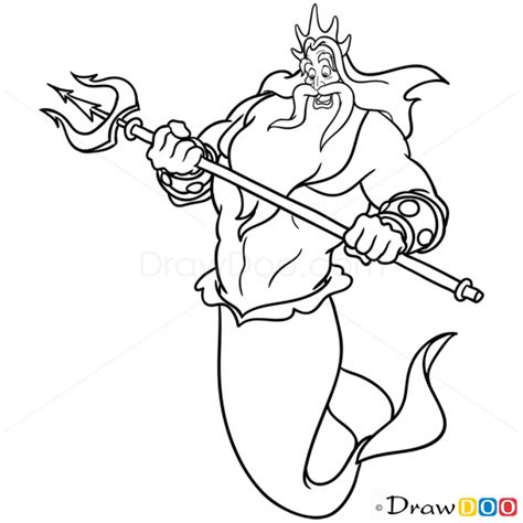 little mermaid king triton coloring pages how to draw king triton mermaids
