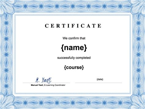 create a certificate in word student assistant sle