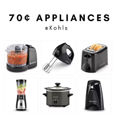 kohl s cardholders 5 small kitchen appliances 8 99 each 5 small kitchen appliances for 70 162 each after rebate
