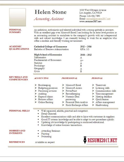 accountant resume exles 2017 accounting assistant resume template 2017