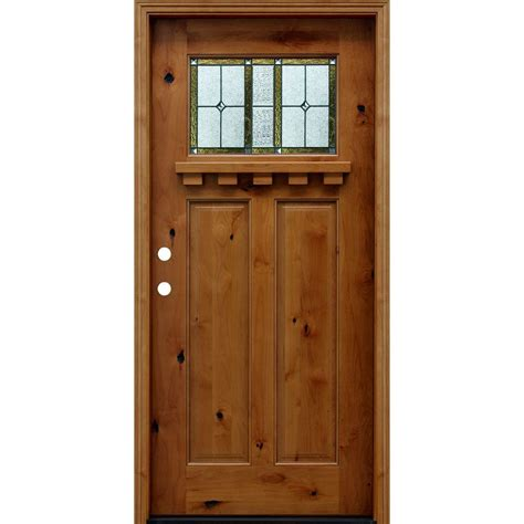 front wood doors pacific entries 36 in x 80 in craftsman rustic 1 4 lite stained knotty alder wood prehung