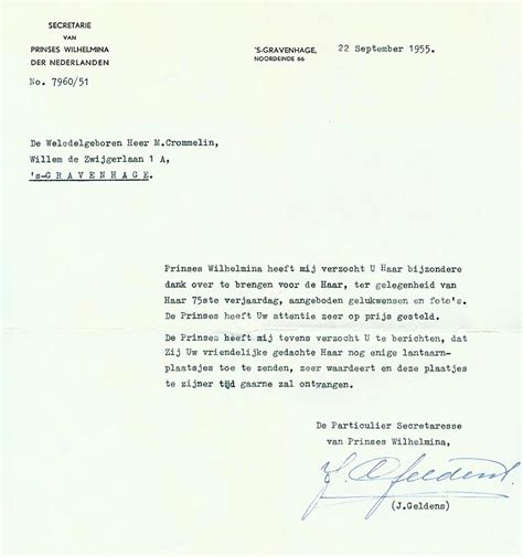 Acknowledgement Letter For Industrial Visit Wilhelmina