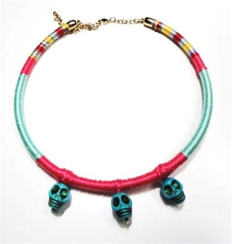 Xufashion Skull Rumbai No 44 beh1nd boho skull handmade necklace