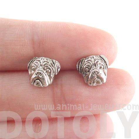 pug stud earrings 3d pug animal shaped stud earrings in silver 183 dotoly animal jewelry 183 the