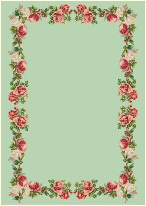 Printable Vintage Stationery | free printable vintage rose stationery ausdruckbares