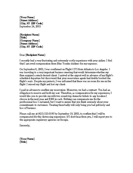 complaint letter  overbooked flight