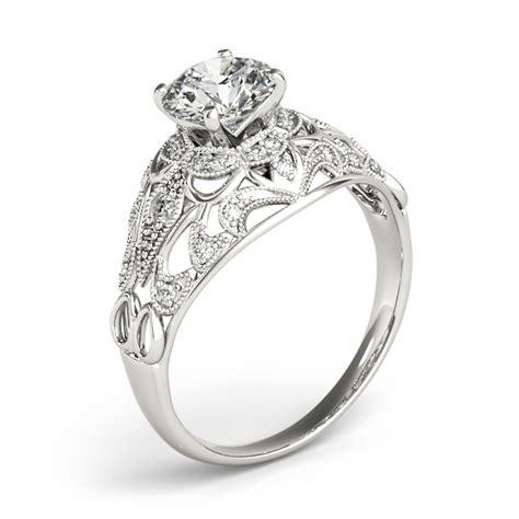 vintage deco engagement ring setting 14k white