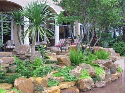 rock garden miami tropical backyard rock garden wall tropical patio