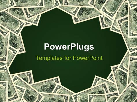 Powerpoint Template Green Background Framed By Piles Of Money 20656 Money Powerpoint Template