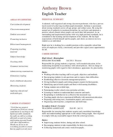 Teacher Resume 9 Free Sle Exle Format Free Premium Templates Esl Resume Template