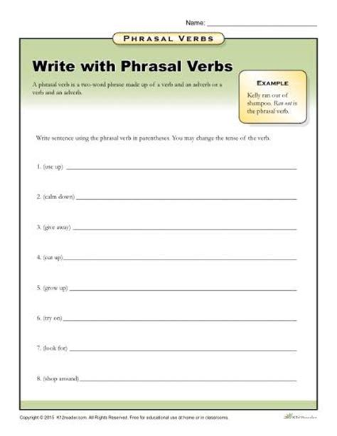 phrasal template write with phrasal verbs worksheet for 3rd 4th 5th grade