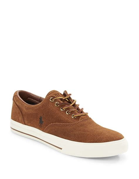 polo shoes lyst polo ralph vaughn suede lace up sneakers in