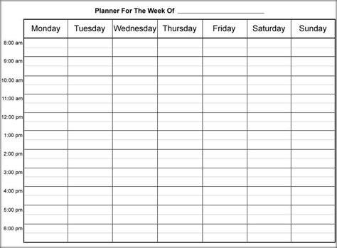 free template calendar free weekly calendar template bidproposalform
