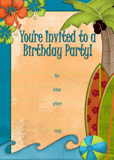 card template hawaian birthday jazlyn free printable luau and bbq invitations