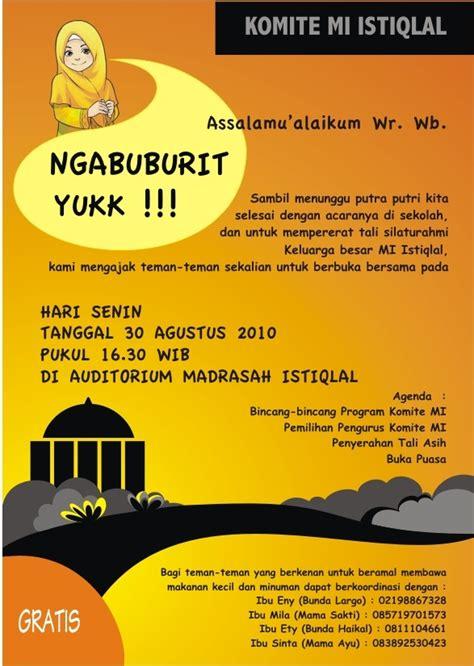 undangan ngabuburit komite madrasah ibtidaiyah istiqlal