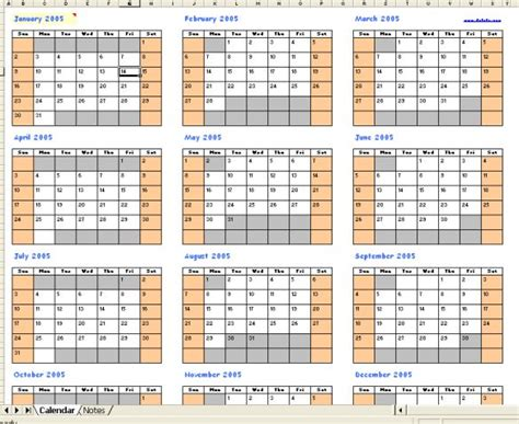perpetual calendars in excel